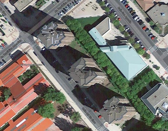 Vista aérea del edificio en el que se va a realizar la instalación