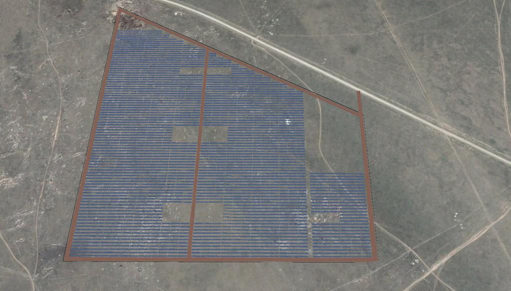 Toma aérea de la instalación solar fotovoltaica Zhangiz.