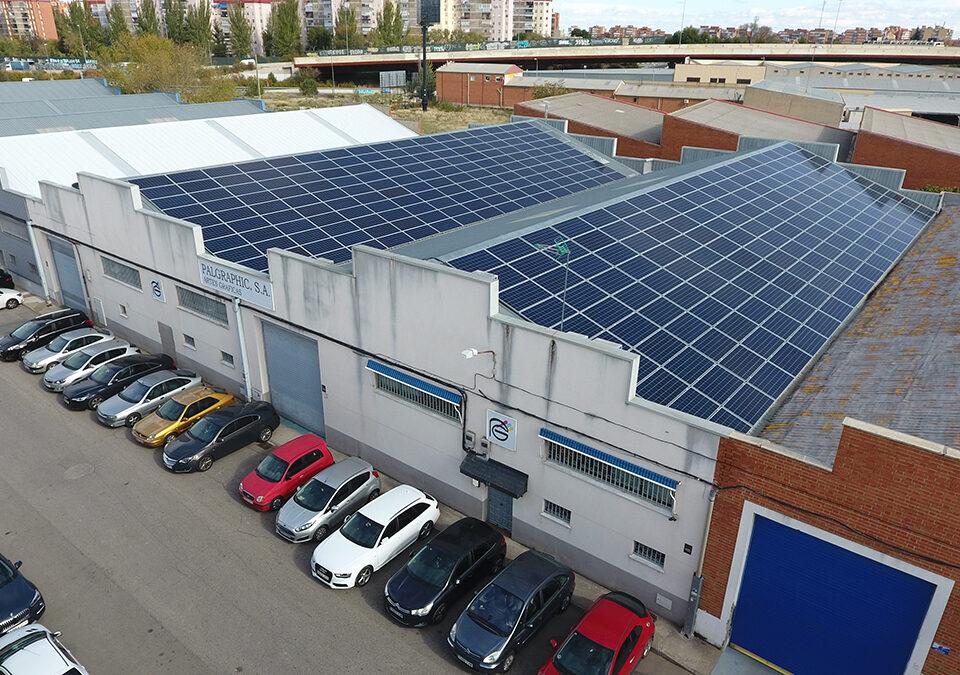 Instalación solar fotovoltaica de autoconsumo en industria de artes gráficas en Madrid