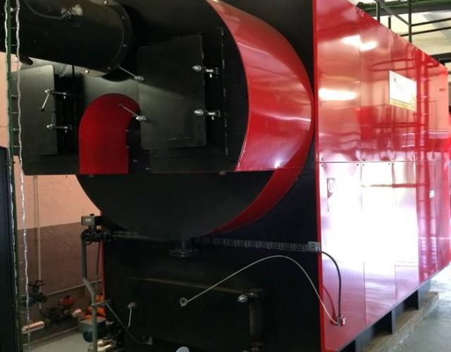 Caldera de biomasa para suministro de vapor.