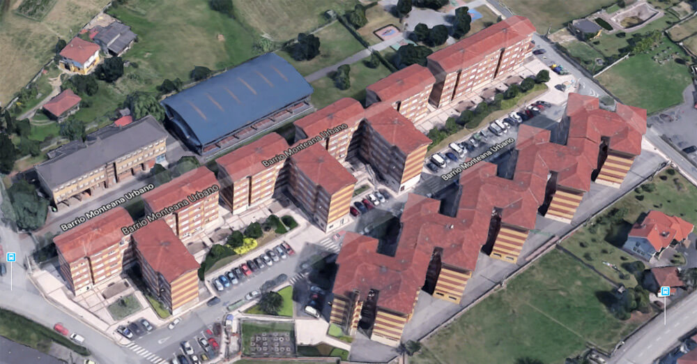 Imagen aérea del barrio de Montiana, Gijón