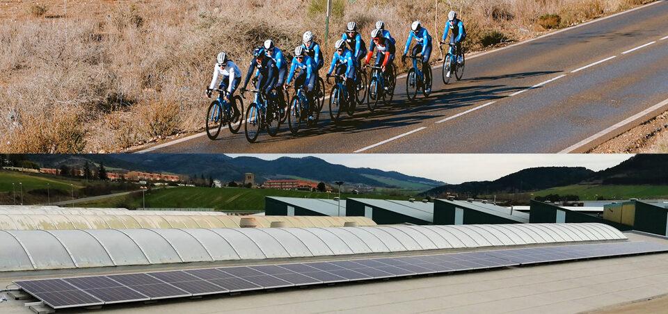Instalaciones fotovoltaicas en la sede oficial del Movistar team en pamplona